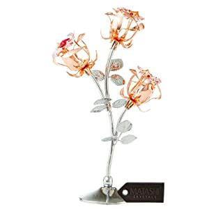 Matashi Everlasting Rose Flower Tabletop Ornament Metal Decorative Home Décor, Gift for Mother (8.5 inch Rose, Rose Gold and Chrome)