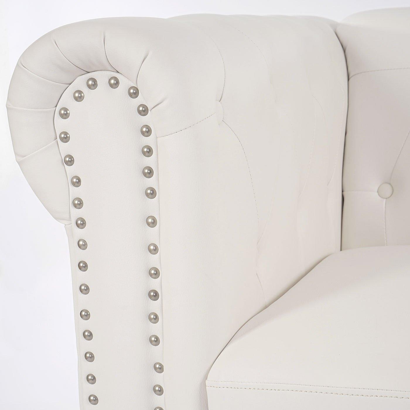 Mendler Divano 2 posti Classico Stile Vittoriano Chesterfield Ecopelle 90x160x74cm Bianco Piedi Rotondi