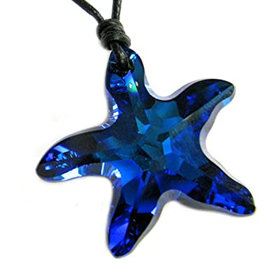 swarovski moondanglestarnecklace crystal crescent pi star blue pendant moon necklace