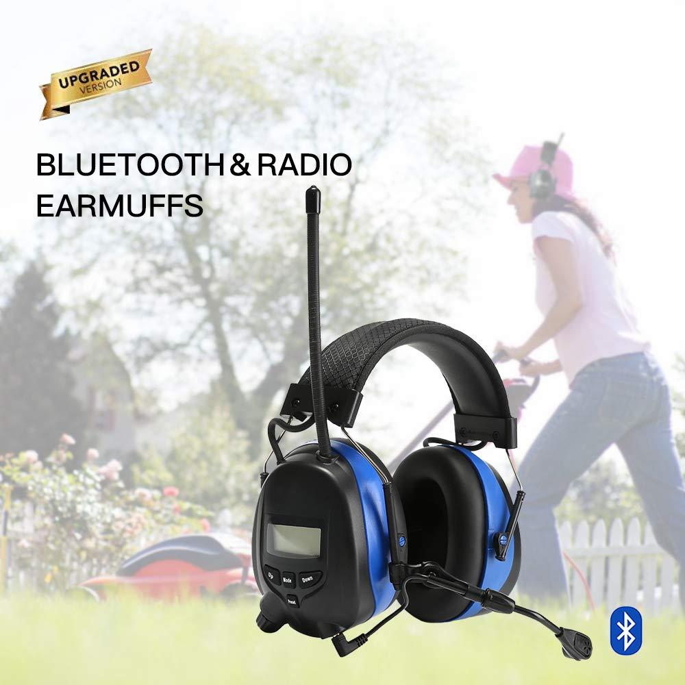 cuffie antirumore con protezione delludito per la riduzione del rumore PROTEAR Cuffie antirumore con Bluetooth e radio AM//FM per falciatura di lavoro microfono con asta incorporato SNR 30dB