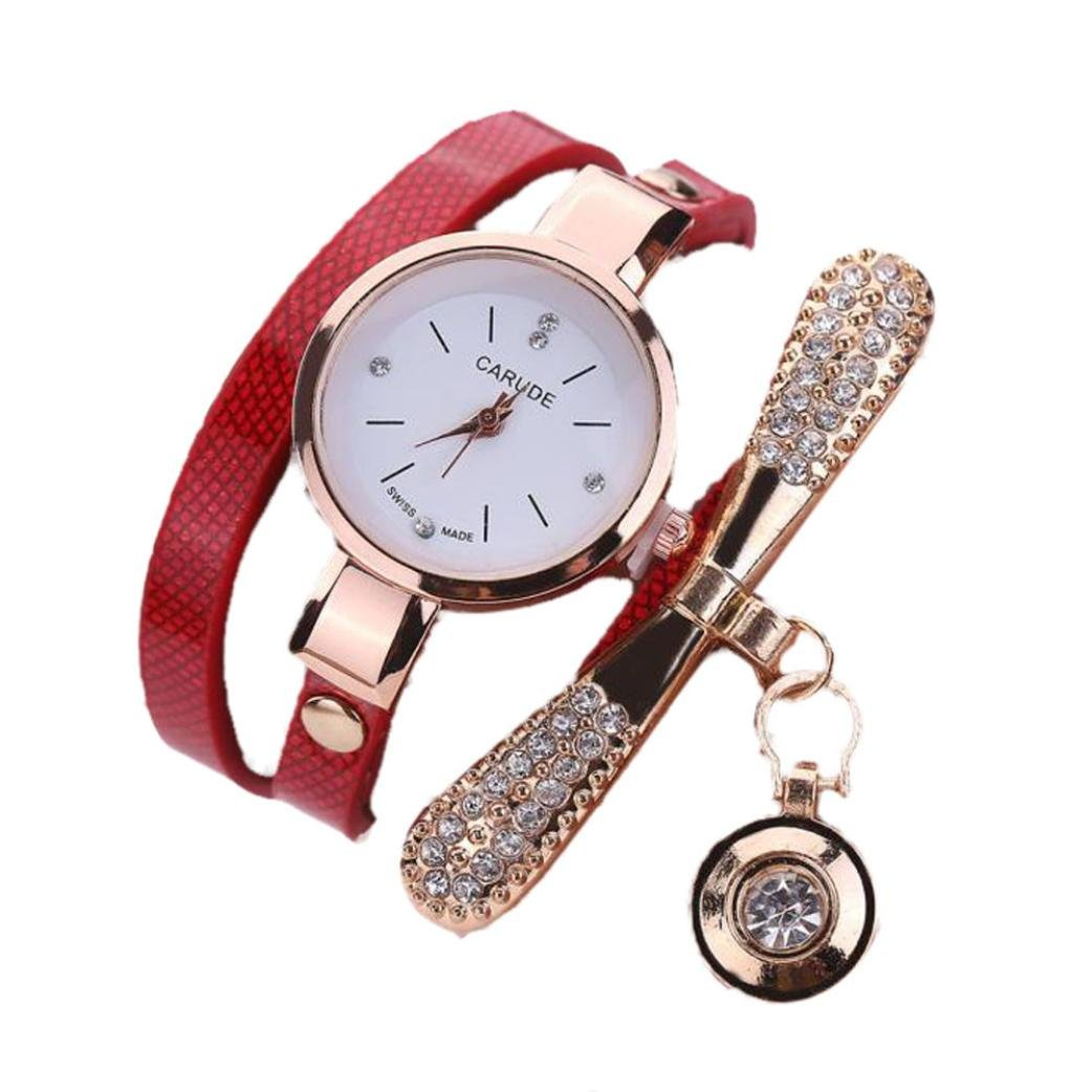 Amazon.com: LtrottedJ Women Leather Rhinestone Analog Quartz Wrist Watches (Brown): Health & Personal Care