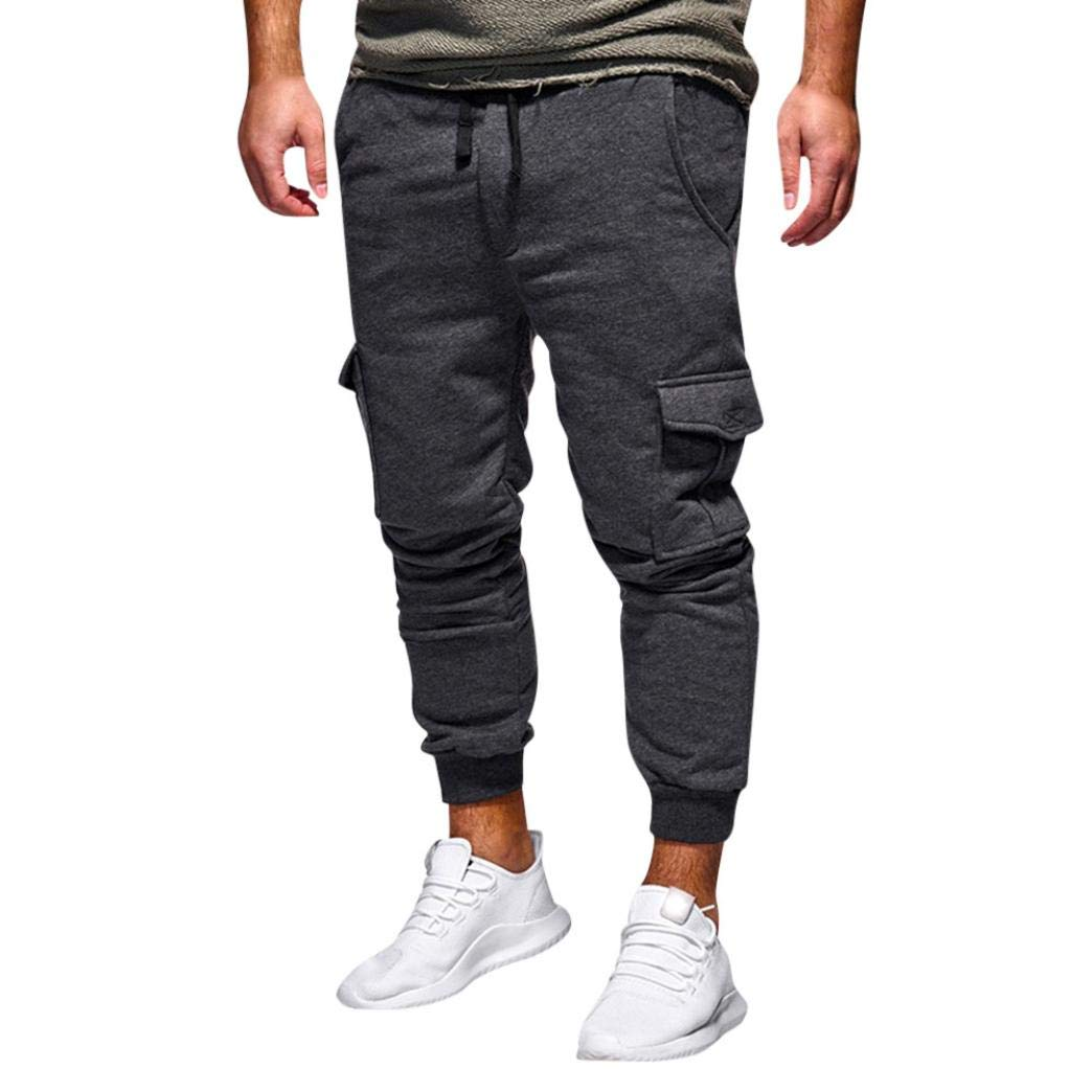 Realdo Hot!Clearance Sale Fashion Men's Sport Fitness Casual Loose Sweatpants Drawstring Jogger Pant(X-Large,Dark Gray)