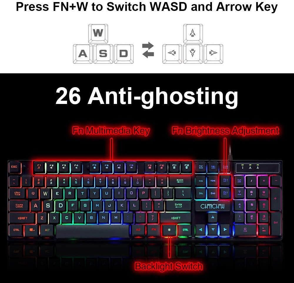 LYA Mechanical Keyboard Computer Game Keyboard Silent Rainbow Backlit RU//ES Keyboard Design with USB Microphone Wired Keyboard