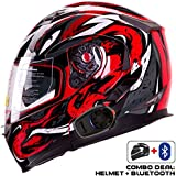 IV2 Helmet + Bluetooth Combo: Model 953 Dual Visor, Modular/Flip-Up High Performance Motorcycle Helmet + SENA SMH5 Bluetooth Unit [DOT] (Small, VIPER Red)