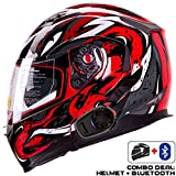IV2 Helmet + Bluetooth Combo: Model 953 Dual Visor, Modular/Flip-Up High Performance Motorcycle Helmet + SENA SMH5 Bluetooth Unit [DOT] (Large, VIPER Red)