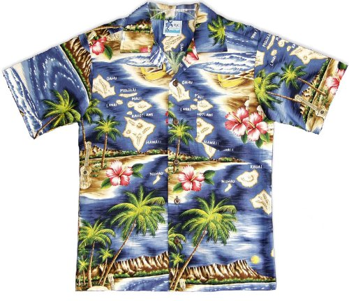 Hawaiian Shirt Wholesale Boys Hawaiian Shirts - Hawaiian Shirts - Aloha Shirt - Hawaiian Clothing - 100% Cotton Navy 14/L by RJC