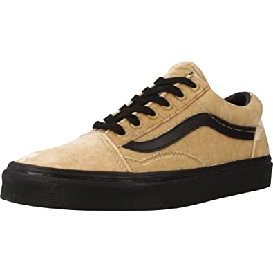 73a05c2a0ec722 Vans Old Skool Velvet Tan Black Women s Skate Shoes Size 9