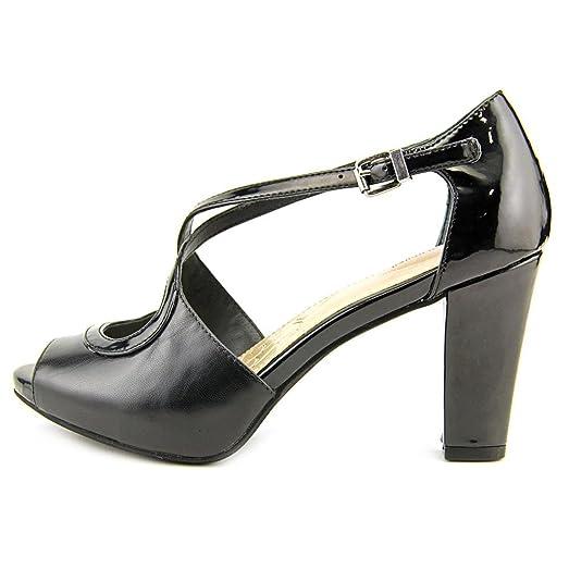 Giani Bernini Womens BRINNLEY Leather Peep Toe Ankle Strap Black Size 9.5