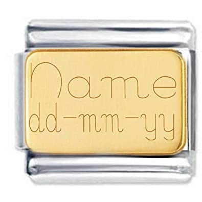 Custom made Name and Date Etched Charm with 18K Gold Plate - Fits Nomination Classic mTfp6fmci