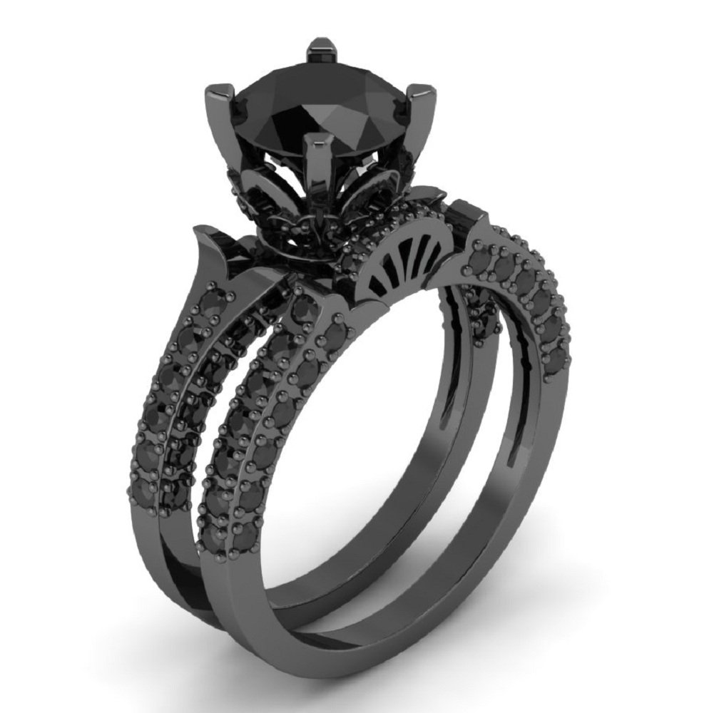 Beautiful 2.00 Ct Round All Black Diamond In Solid 925 Sterling Silver Engagement Wedding Ring 7