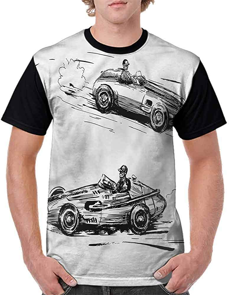 BlountDecor Performance T-Shirt,Racing Vehicles Sketch Fashion Personality Customization