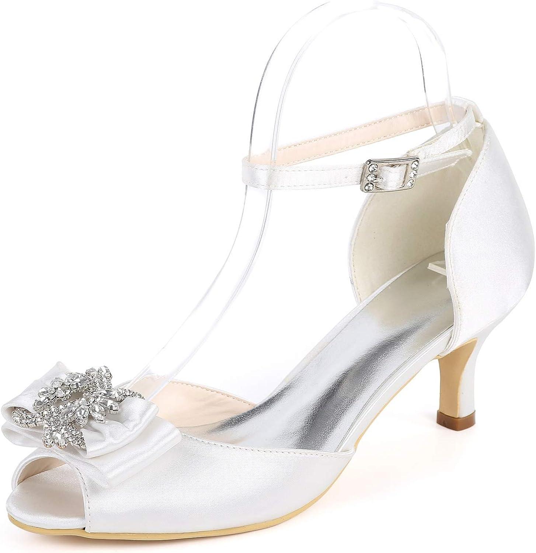 Elaboky Zapatos De Boda para Mujer Pendiente De Perla Hebilla Flores Tacones Altos Gruesos Nuevo Marfil De OtoñO (6cm De TacóN)