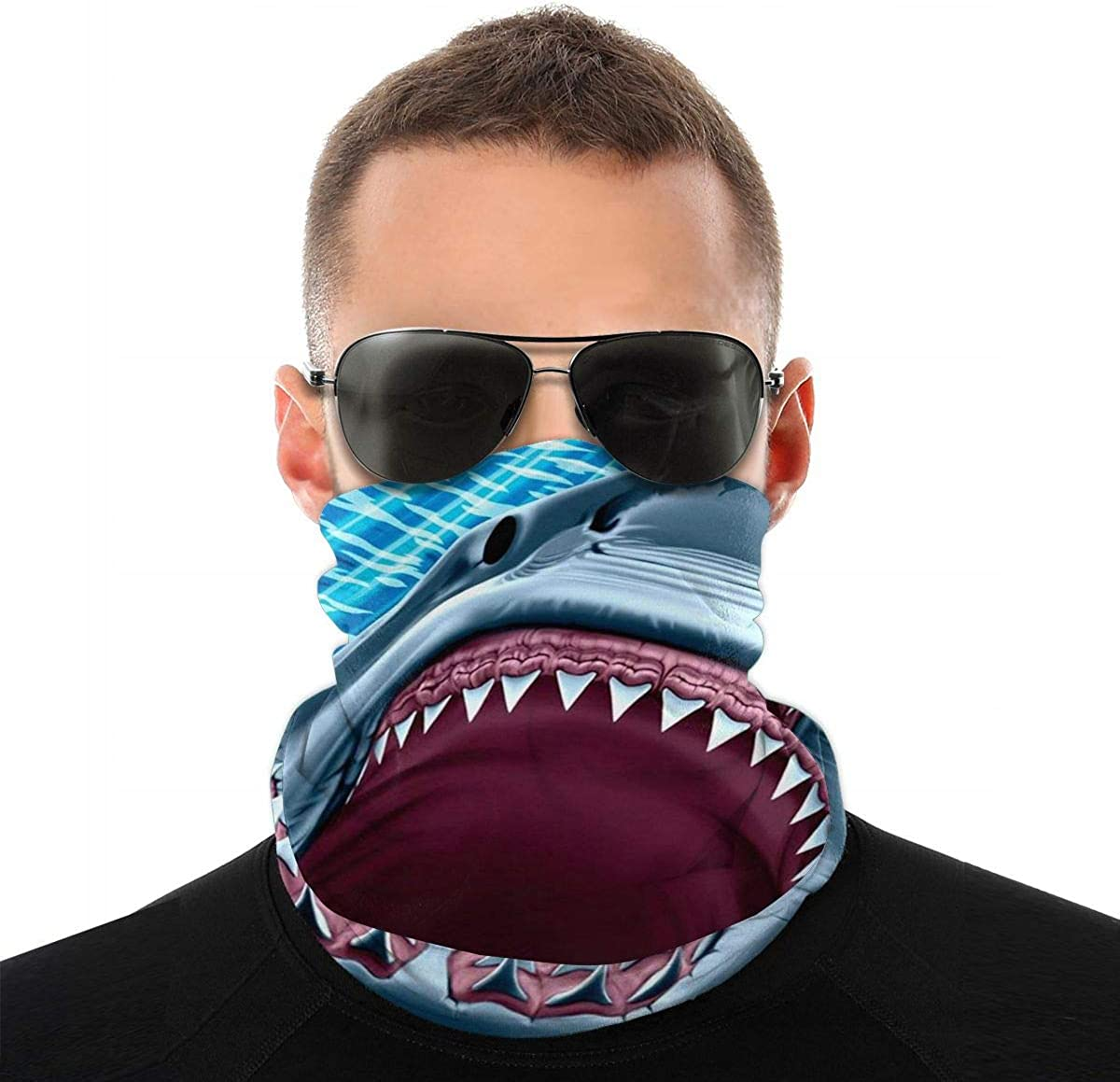 Seamless Neck Gaiter Tube - Long Great White Shark Teeth Bandanas/Balaclava Windproof Face Mask & Headband For Dust, Outdoors, Festivals, Sports