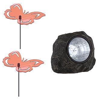 1x LED Solar Lampe Stein Design Garten 2x Deko Steck Schmetterlinge  Lichtfänger Außen Leuchte Grau
