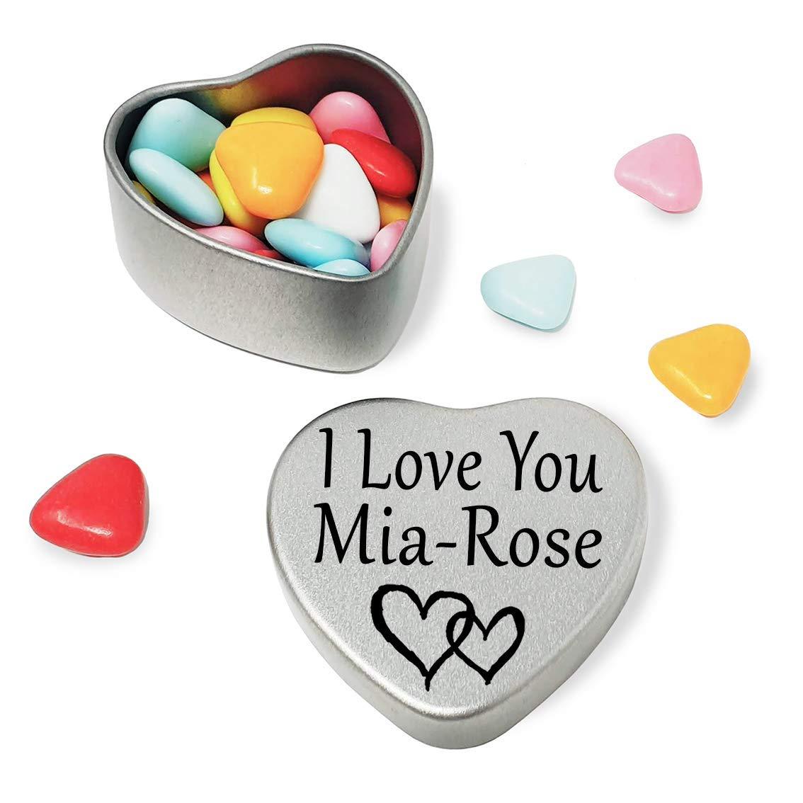 Happy Birthday Mia Mini Heart Tin Gift Present For Mia WIth Chocolates