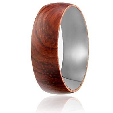 Wood Wedding Band.Soleed Rings Wooden Wedding Band With Inner Tungsten Layer For Strength And Protection Designed For Men And Women 8mm Natural Rose Wood Ring