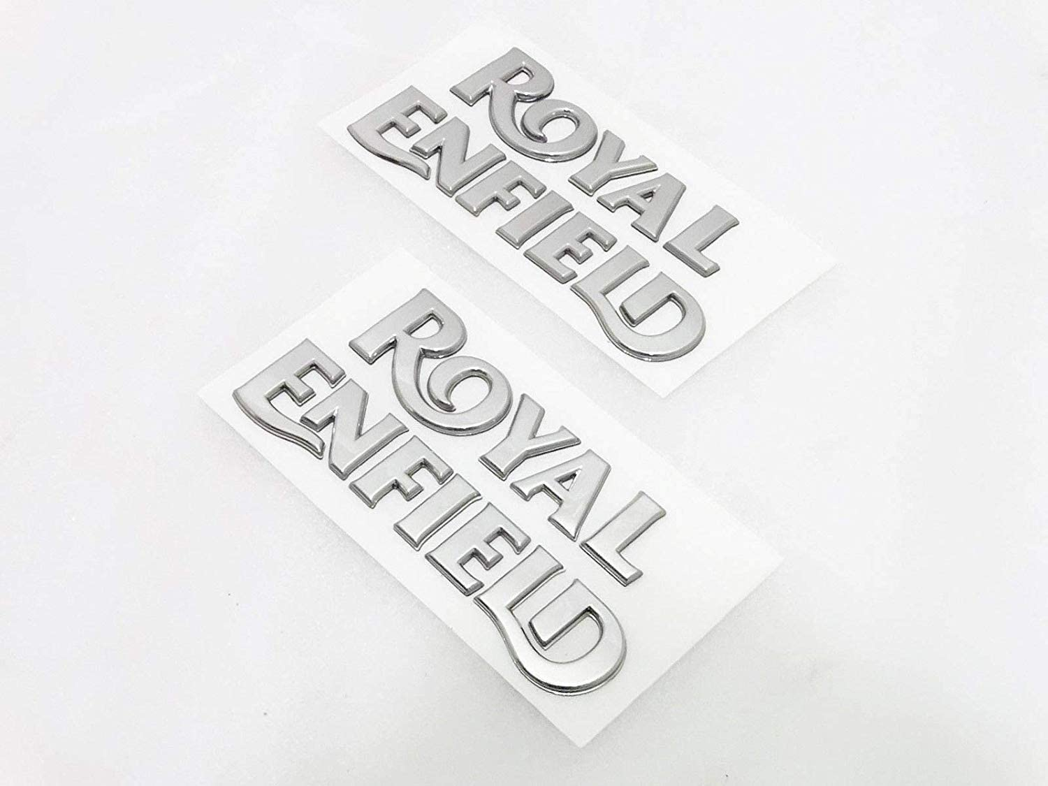 Royal Crusaders ROYAL ENFIELD SCRIPT PLASTIC CHROME LOGO TANK STICKER SET
