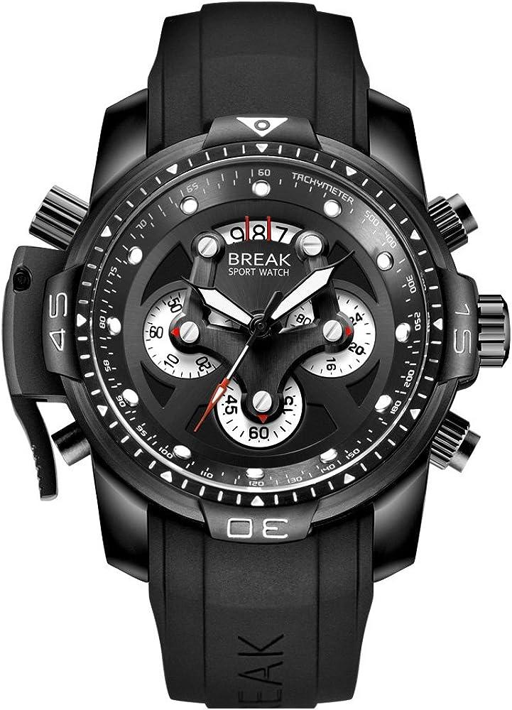 BREAK Relojes de Cara Grande para Hombres, Fecha Luminosa Reloj Multifuncional Diseño único Moda Casual Cuarzo Impermeable Top Marca