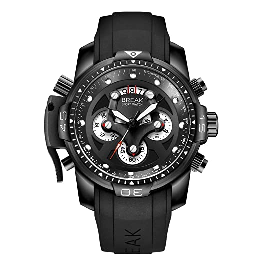 1cf885155568 BREAK Relojes para Hombres Cronógrafo Deportivo Impermeable Reloj de Cuarzo  Analógico con Banda de Goma Superior