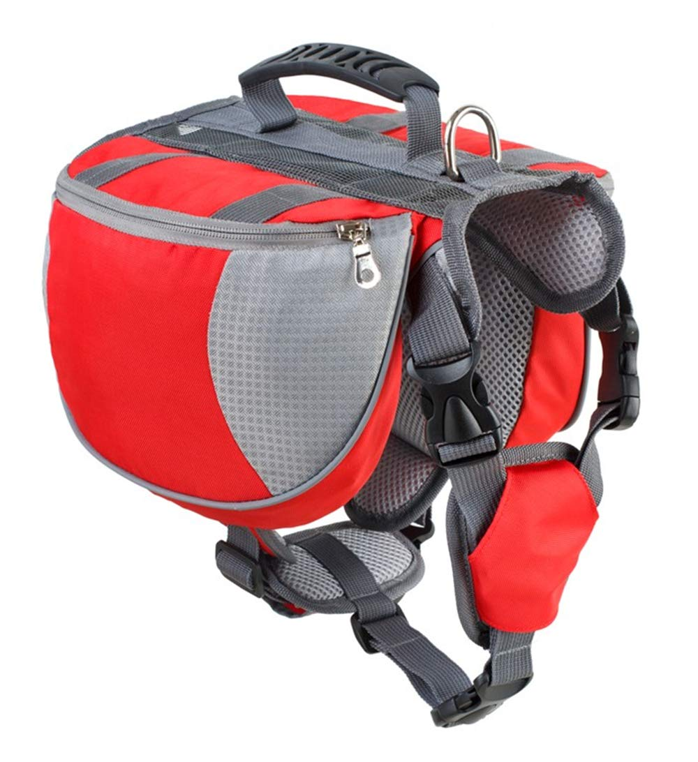 Red M red M ZIOFV Package Pet Outdoor Backpack Large Dog Adjustable Saddle Bag Harness Carrier for Traveling Hiking Camping