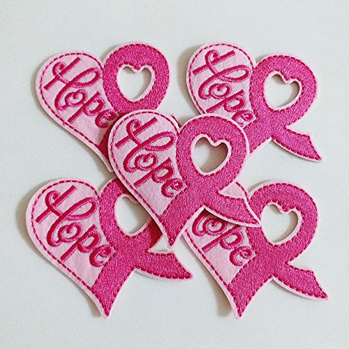10pcs Breast Cancer Awareness Pink Ribbon Heart Hope Iron On Sew On Cloth Embroidered Patches Appliques Machine Embroidery Needlecraft Sewing projects