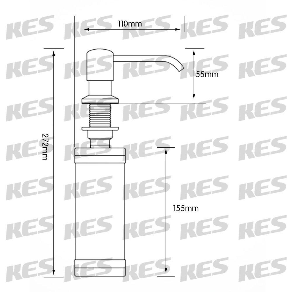 Pulido PSD1 KES Dispensador de Jab/ón con Bomba de 18-8 Acero Inoxidable y Botella de PP