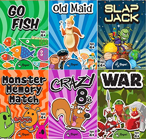 (Regal Games Classic Card Games 6 Game Set (Old Maid - Go Fish - Slapjack - Crazy 8s - War - Monster Memory Match) )