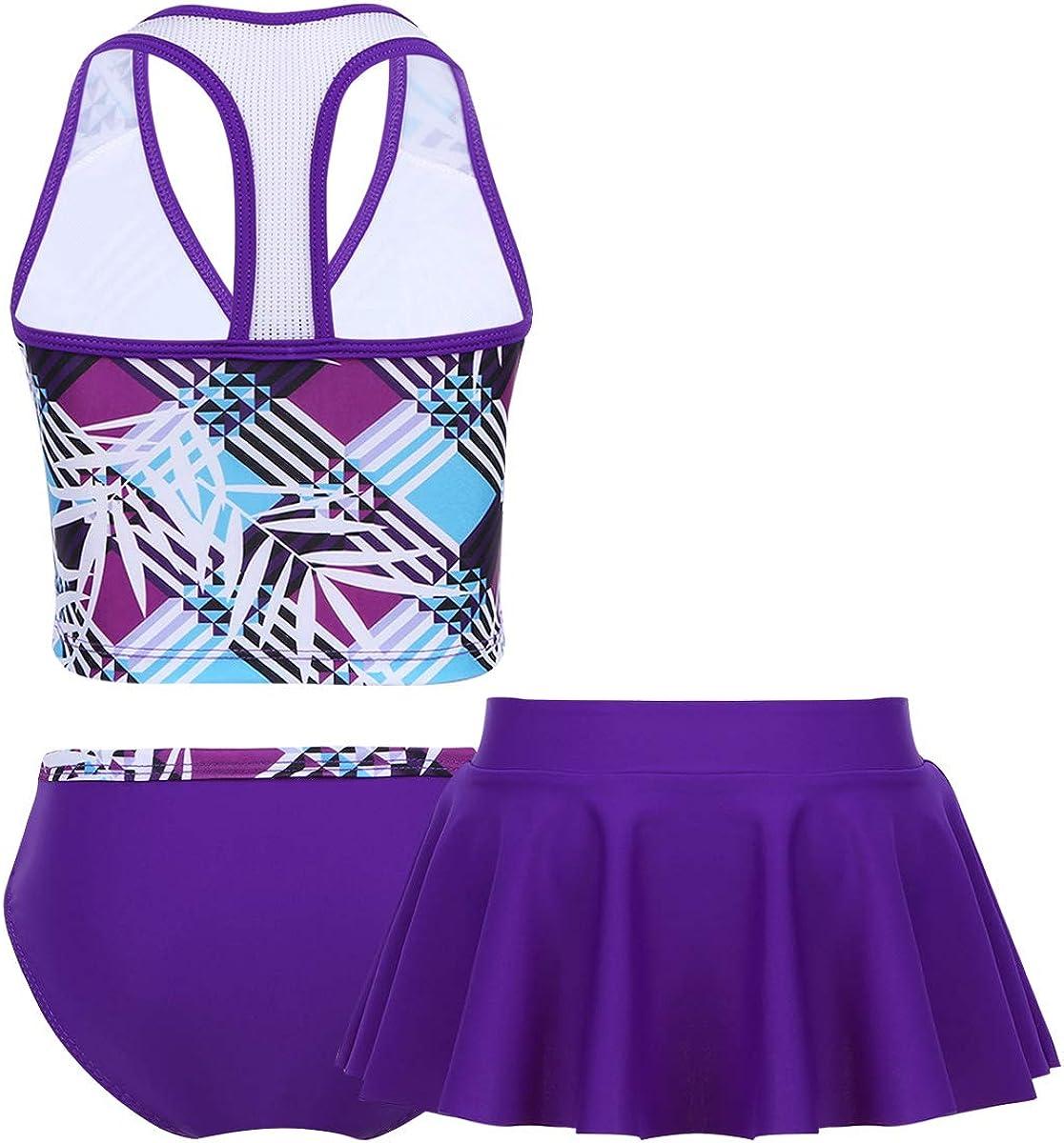 Alvivi Kids Girls 3PCS Tankini Sets Summer Beachwear Swimwear Bathing Suit with Pleated Skirt