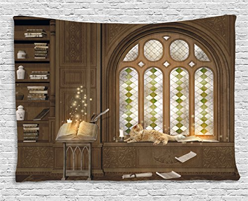 Ambesonne Gothic Decor Tapestry, Room for Study in Medieval Library with Cat Sleeping on Window Antique Mansion, Wall Hanging for Bedroom Living Room Dorm, 60 W X 40 L Inches, -