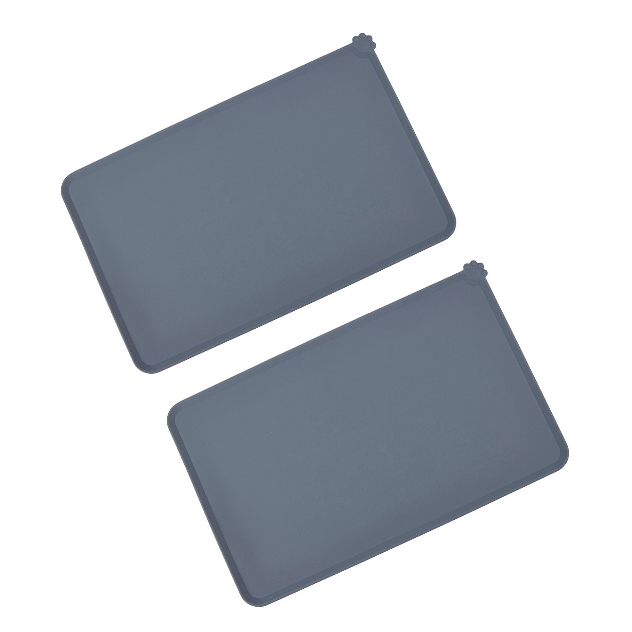 Juvale Pet Food Tray - 2-Pack Silicone Pet Food Mat, Waterproof Pet Feeding Tray with Non-Slip Bottom and Raised Edges, Grey