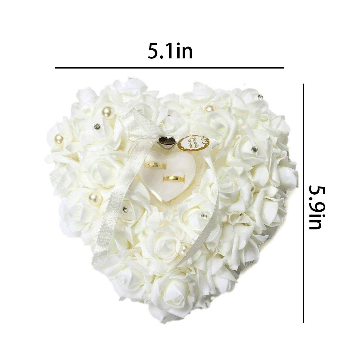 mossty Wedding Ring Pillow,Rose Heart Ring Box Wedding Accessories White Ring Pillow Wedding Lace Crystal by mossty (Image #3)