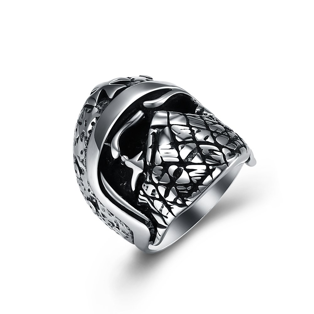 BLOOMCHARM Skull Rings for Men Boys Jewelry Punk Skull Head Stainless Steel Bands Gifts Presents