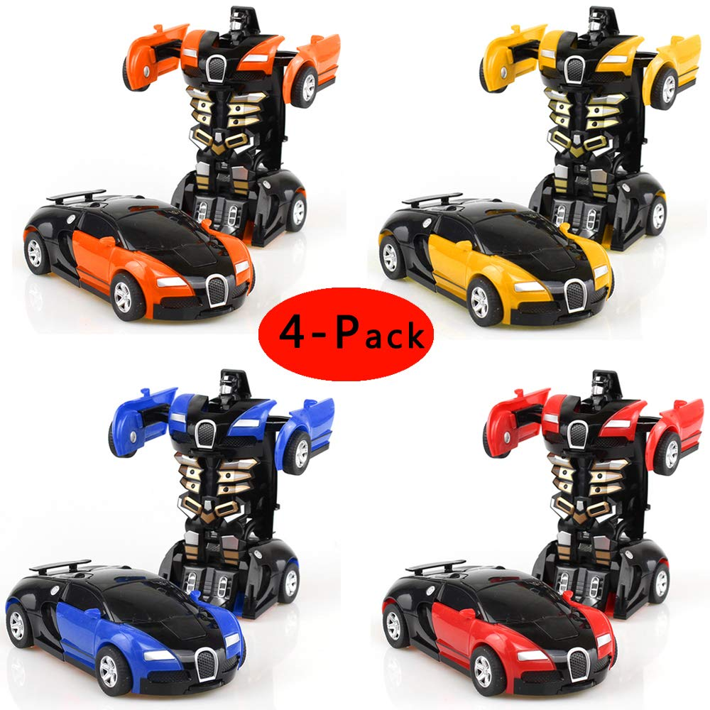 Cartoon Crash Deformation Transforming Robot Car Toy Kids Game Gift Electrical Safety (4pcs, Yellow&Red&Orange&Blue)