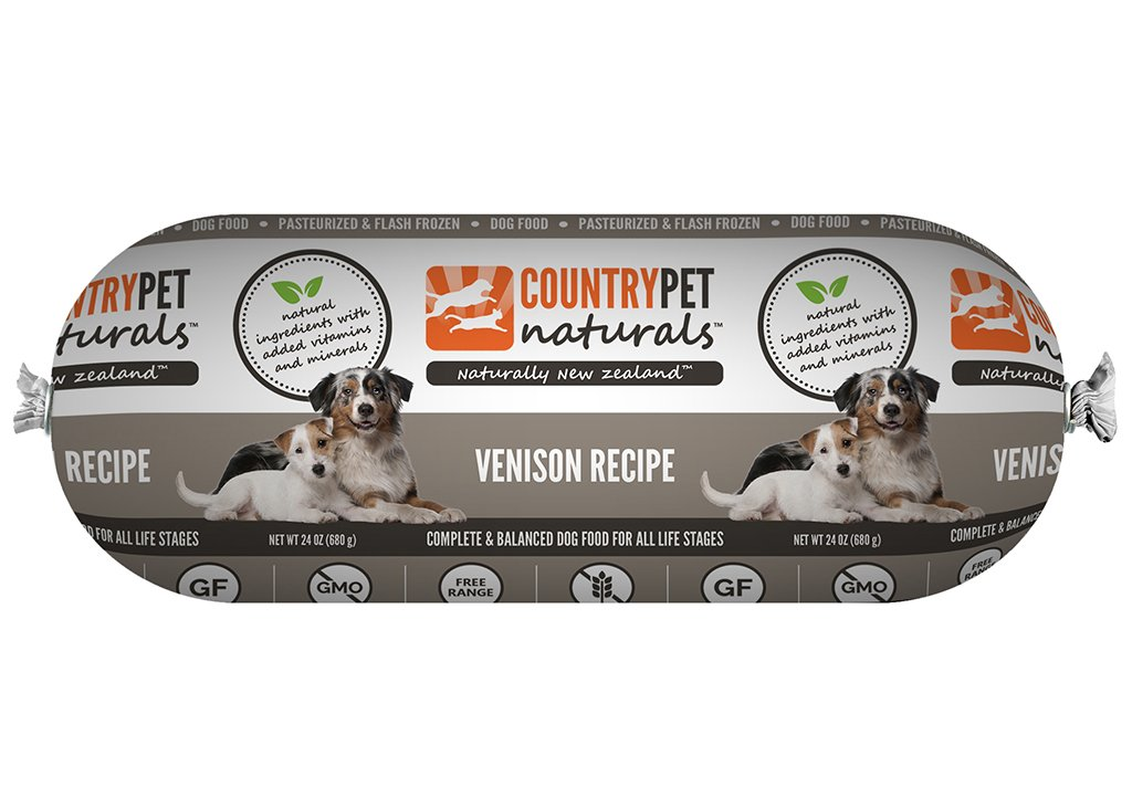 CountryPet Naturals Pasteurized Frozen Dog Food, Venison Recipe (24 lbs Total, 16 Rolls each 1.5 lbs) - Natural Ingredients with Added Vitamins & Minerals - Made in New Zealand