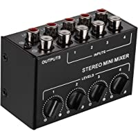 JJmooer Mini mezclador de audio estéreo con entradas
