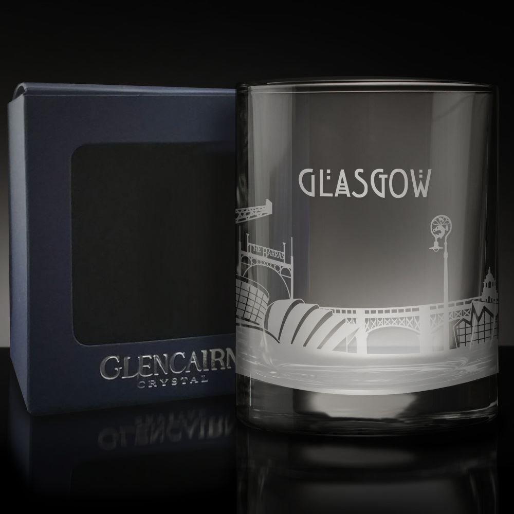 Glencairn GLASGOW Skyline Glass Etched Whisky Tumbler and Presentation Box 17cl