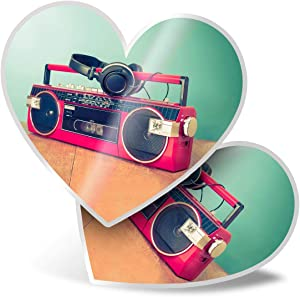 Awesome 2 x Heart Stickers 7.5 cm - Retro Ghetto Blaster Cassette Tape Fun Decals for Laptops,Tablets,Luggage,Scrap Booking,Fridges,Cool Gift #14276