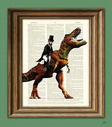 president-abraham-lincoln-riding-a-dinosaur-beautifully-upcycled-dictionary-page-book-art-print
