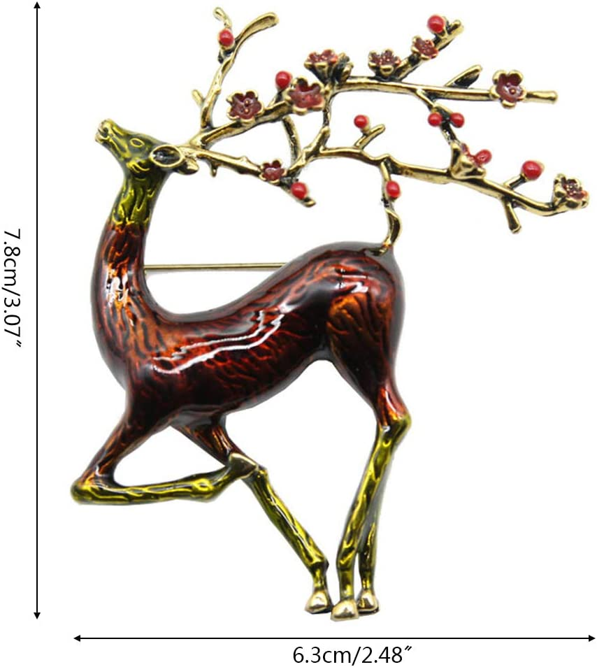 huyiko No/ël Sika Cerf /émail Broche Elk Mignon Belle Animal Broche Bijoux dhiver