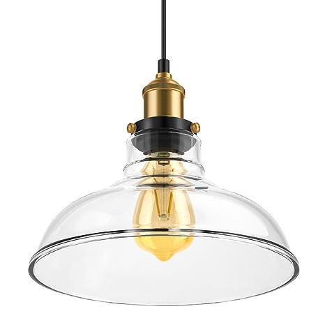 Lámpara de techo colgante vintage, lámpara industrial de hoja de roble Lámpara de techo colgante de cristal claro Lámpara de luz retro E27