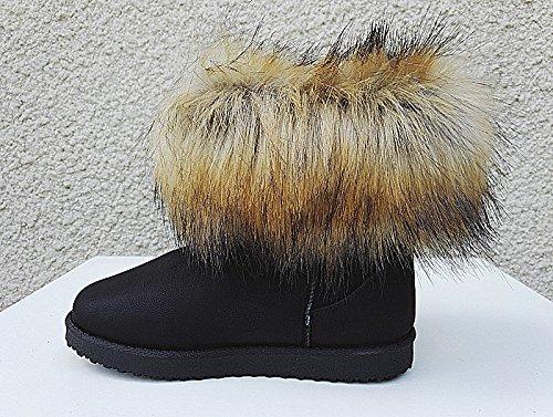 Bottine femme fourrure chaussure Boots Fourré Cheville Court Hiver Fille AB-15 NOIR