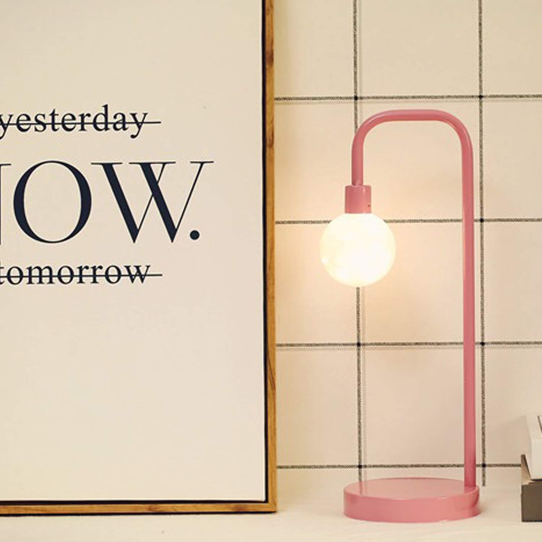 モダンデスクランプ ナイトライト 工業用鉄フレーム LED フェアリーストリングライト USB充電式 オフィス/寝室用 ピンク B07QHRMV1S Pink- Straight