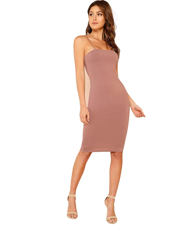 84cd4ca92c6 Floerns Women s Sexy Spaghetti Strap Sleeveless Bodycon Midi Club Dress at  Amazon Women s Clothing store