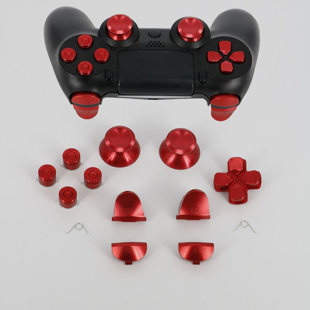 Full Aluminum Metal Buttons for PS4 Controller, YTTL Custom Metal  Thumbsticks Analog Grip + Metal ABXY + D-pad + Metal L1 R1 L2 R2 Trigger  Buttons for