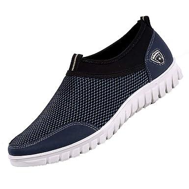 JiaMeng de Hombre Zapatos Masculinos Casual Malla Zapatos cómodos Transpirables Mocasines Calzado Deporte Corriendo Excursionismo Zapatos: Amazon.es: Ropa y ...