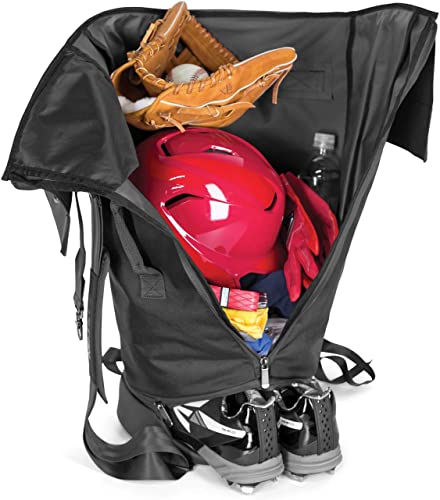 EASTON RETRO Bat Equipment Duffle Bag Baseball Softball 2020 2 Bat Sleeves Vented Shoe Compartment Easy Gear Access with Full Length Side Zipper Shoulder Backpack Straps Fence Hook