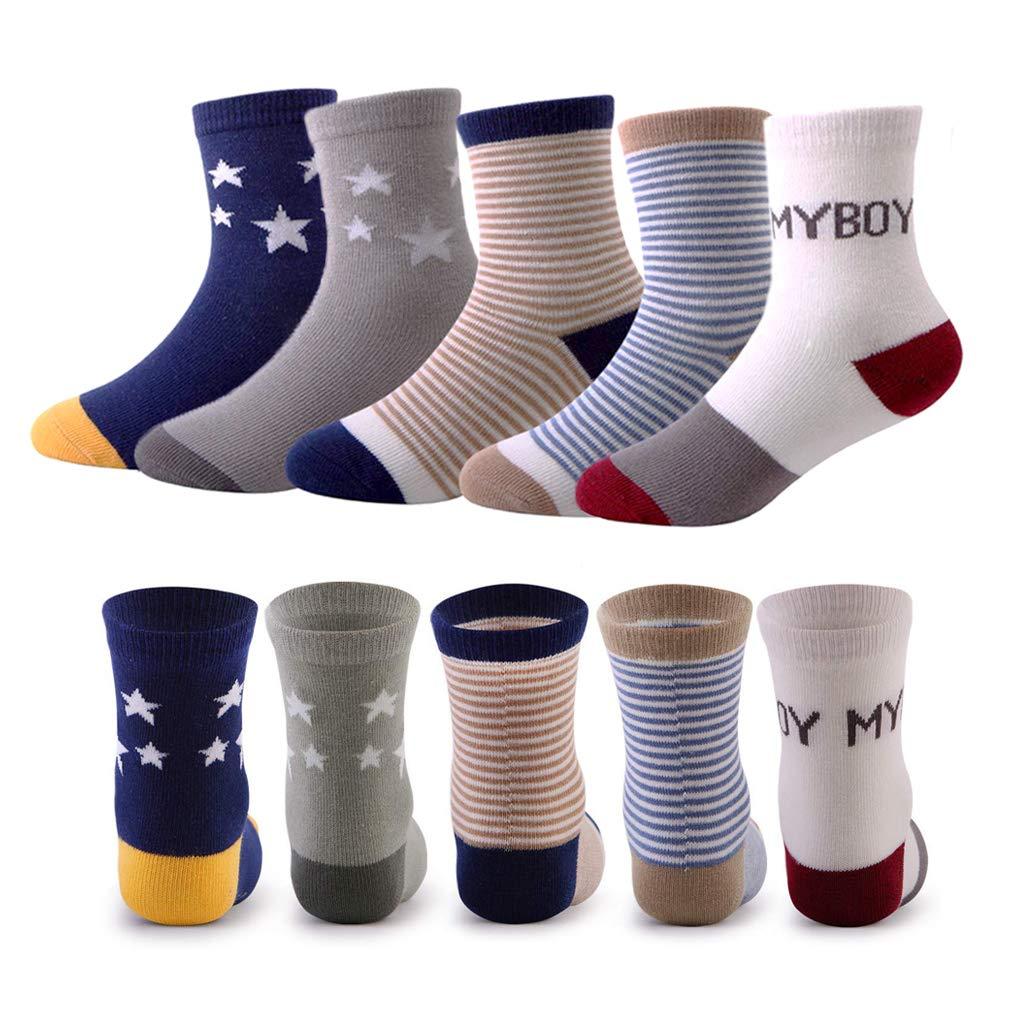 5 Pairs Kids Toddler Boys Colorful Novelty Fashion Cotton Crew Socks Comfort MORL U