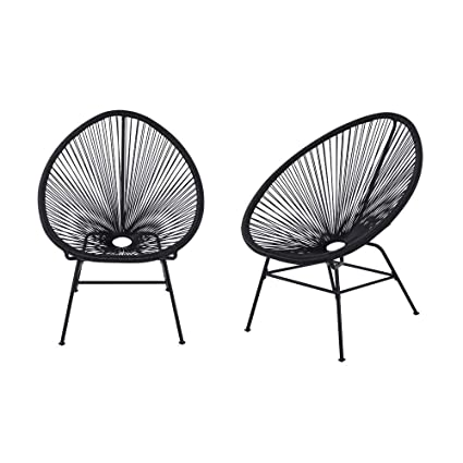 Peachy Acapulco Sun Chair Bistro Set Indoor Outdoor All Weather Oval Weave Lounge Patio Papasan Chair 2 Piece Set Black Bralicious Painted Fabric Chair Ideas Braliciousco