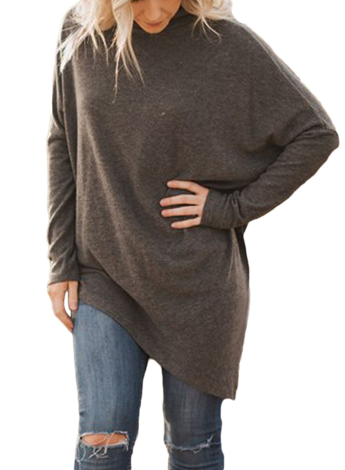 FARYSAYS Women's Casual Long Sleeve Turtleneck Loose Fit Handkerchief Hem Tunic Tops Brown Medium