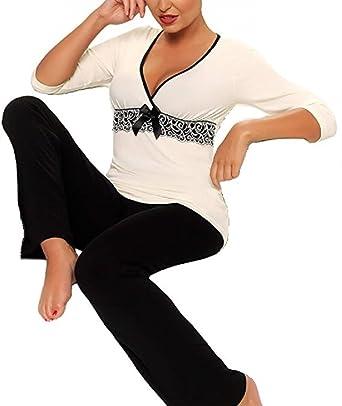 Nachtwäsche Damen Pyjama Viskose Schlafanzug Nachtwäsche Shirt lang